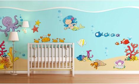 Camerette per bambini a tema mare leostickers - Adesivi murali per camerette bimbi ...